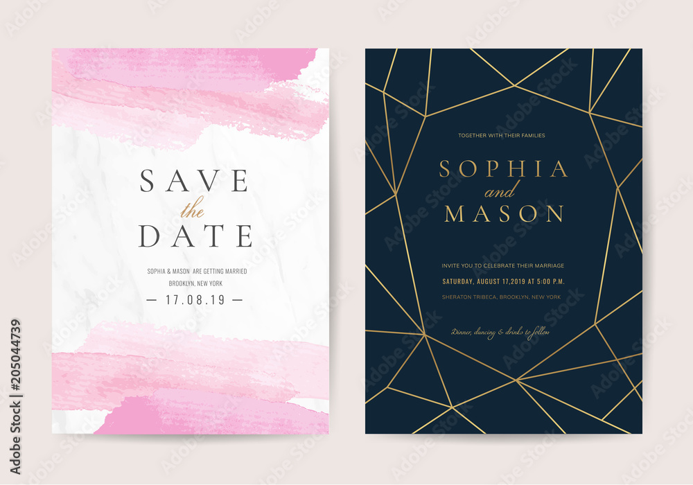 Fotografia Luxury Wedding Invitation Cards With Pink