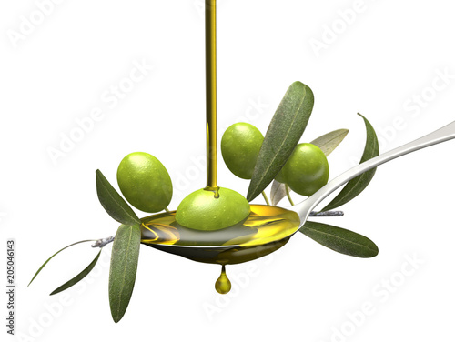 Olive oil jet over a olive branch in a spoon,isolated white background