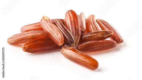 Red rice on white background Fototapete