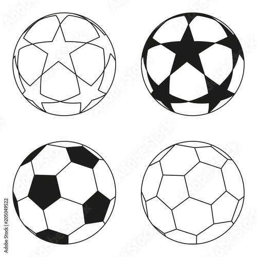 Foto op Plexiglas Bol Flat black and white soccer ball star set.
