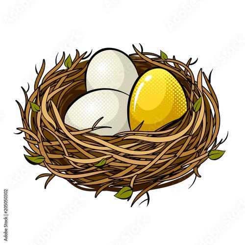 Fototapeta Nest with golden egg pop art vector illustration obraz