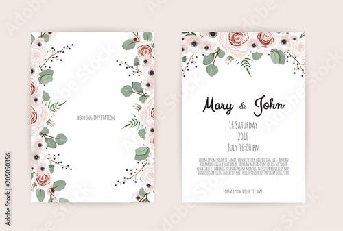 Fototapeta Floral Wedding Invitation Botanical Card Vector Design Garden Pink Peach Rose Flower Anemones Green Eucalyptus Tender Greenery