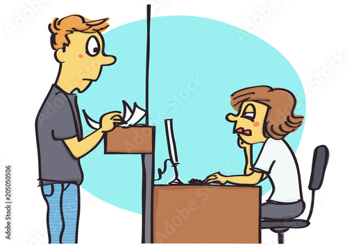 Fotografie, Obraz  Funny vector cartoon of office clerk acting unfriendly and passive to the client