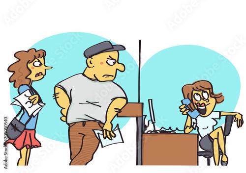 Fotografie, Tablou Funny vector cartoon of clerk at office counter making a private telephone call
