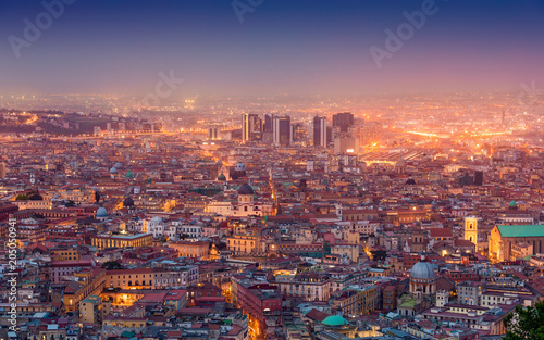 Keuken foto achterwand Napels Aerial night view of glowing streets of Naples, Italy