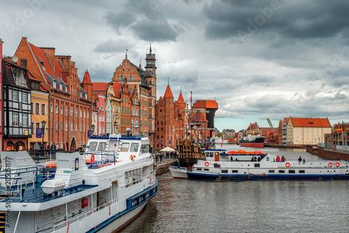 Foto auf AluDibond Stadt am Wasser Gdansk crane over the Motława River