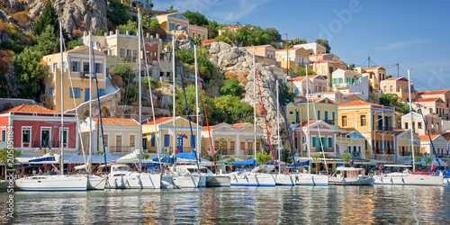 Staande foto Europa Panorama of Symi, Dodecanese island, Greece