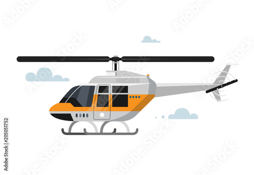Obraz na plátně Vector illustration of flat helicopter.