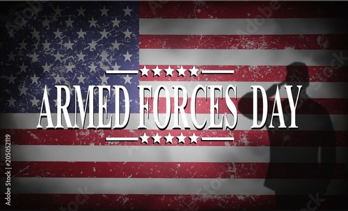 Obraz ARMED FORCES DAY , Poster with USA flag - fototapety do salonu