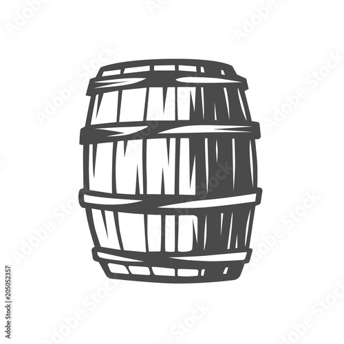 Barrel. Black and white illustration. Poster Mural XXL
