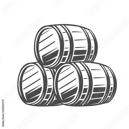 Photo Barrel. Black and white illustration.