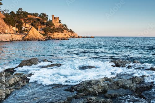 Papiers peints Lieu d Europe Landscape of Lloret de Mar Castle and its beach in a sunny afternoon, Spain.
