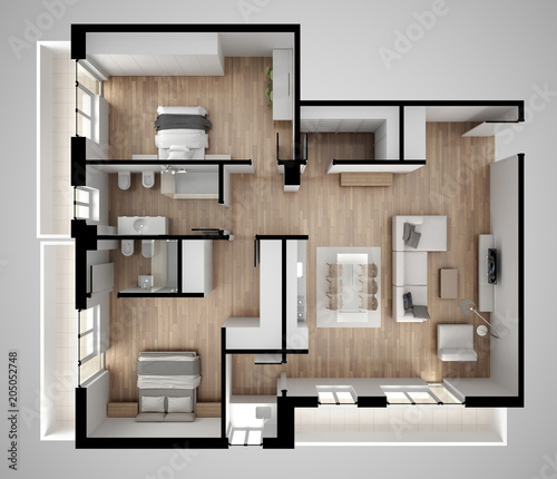 Apartment Flat Top View Furniture And Decors Plan Cross Section Unique Apartments Plans Designs Concept