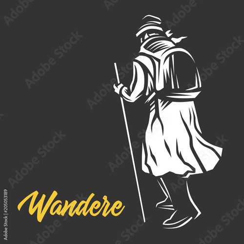 Wandere, Wanderer,  vector illustration. Fototapeta