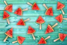 Watermelon Slice Popsicles On Blue Wood Background, Fresh Summer Fruit Concept