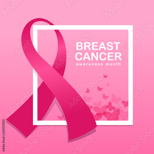 Breast Cancer Awareness Banner With Pink Ribbon Around White Frame