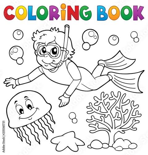 Staande foto Voor kinderen Coloring book boy snorkel diver