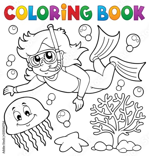 Wall Murals For Kids Coloring book girl snorkel diver