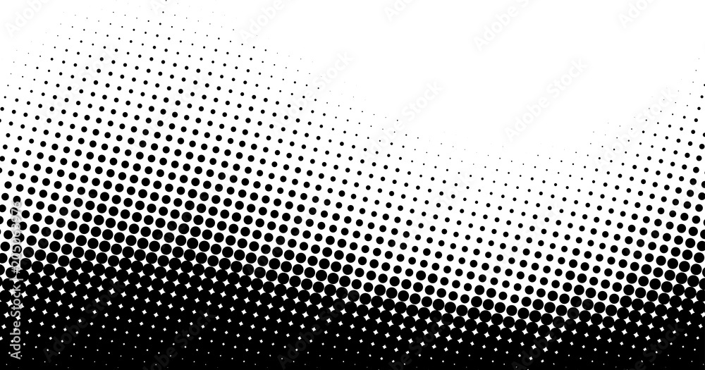 Fototapeta Black and white dotted halftone background.