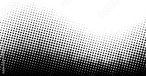 Black and white dotted halftone background.