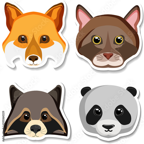 Photo  Cartoon animals sticker isolated on white.