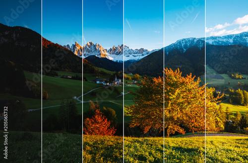Kreatywny kolaż krajobraz lato z pionowe zdjęcie. Lokalizacja miejsce Dolina Funes.