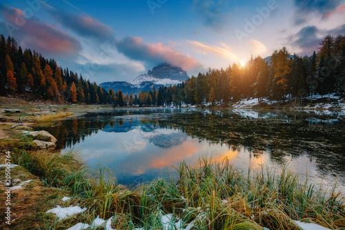 Foto op Plexiglas Purper Great view of the foggy lake Antorno in National Park Tre Cime di Lavaredo. Location Misurina, Dolomiti alps, Italy.