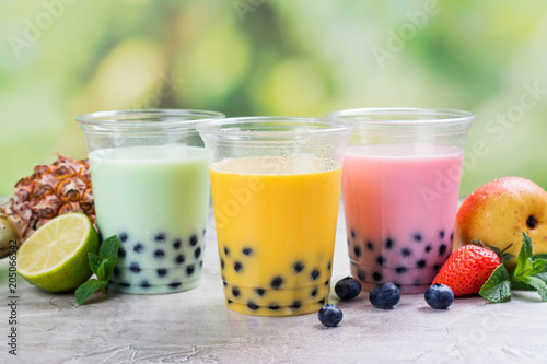 Homemade bubble tea with tapioca pearls Wallpaper Mural