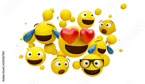 Photo  emoticons group isolated