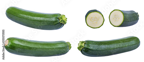 Foto op Plexiglas Verse groenten Fresh green zucchin with leaf and flower isolated on white background with clipping path