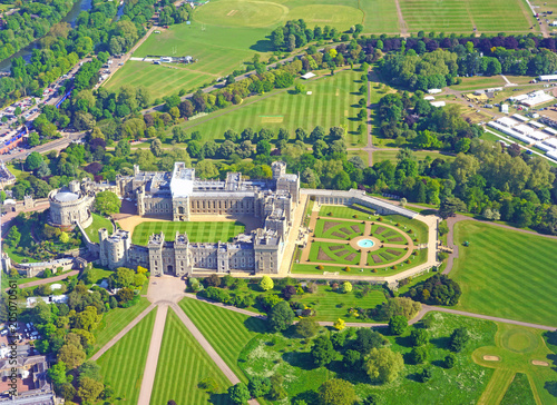 Fotografie, Obraz  Aerial view of Windsor Castle in Windsor, England