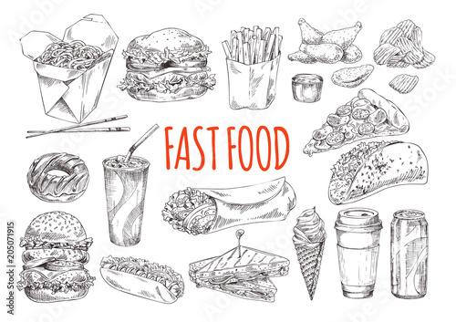 Fotografiet  Tasty Fast Food Promotional Monochrome Poster