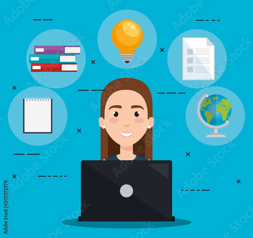 Keuken foto achterwand Restaurant student using laptop electronic education vector illustration design