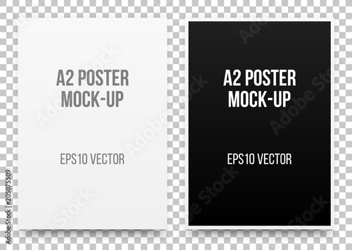 A2 white and black posters realistic template, mock-up with margins ...