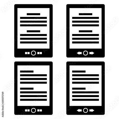 Minimalist Ebook Reader Icon Four Variations Isolated On