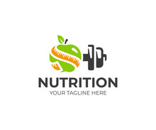 Sports Nutrition Logo Template. Green Apple With Measure Tape And Metal Dumbbell Vector Design. Fitness Nutrition Logotype