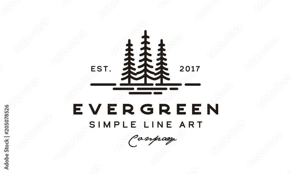 Fototapety, obrazy: Vintage retro hipster Evergreen, Pine  Cedar, blue spruce tree Logo design