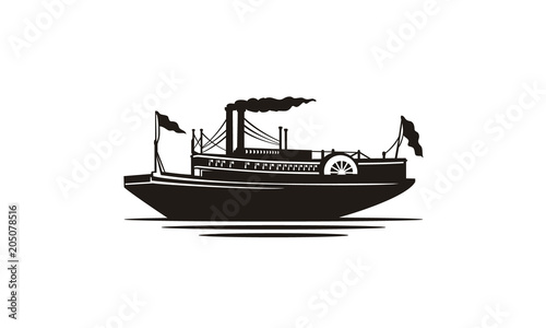 Valokuvatapetti Classic Steamboat Steamship Vessel Ship Boat Silhouette logo design