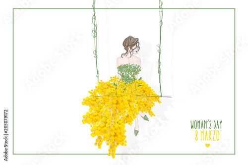 selezione migliore d8ad5 c4eca donna con gonna di mimose - Buy this stock illustration and ...