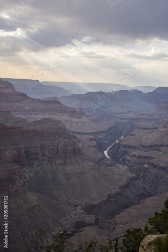 Foto op Canvas Grijs Sun beams in the Grand Canyon