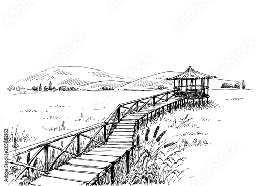 Bridge over meadow to the watchtower sketch Fototapeta