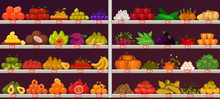 Fruits And Vegetables At Shop ...