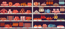 Meat And Fish Products At Shop...