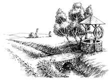 Old Well Idyllic Landscape