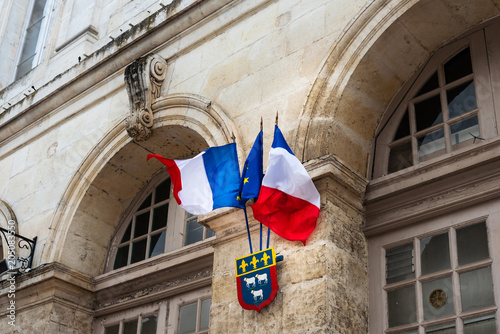 Poster France and European Union Flag in paris