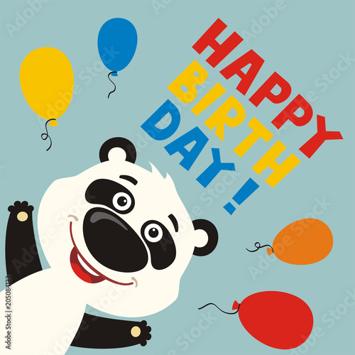 Happy Birthday Greeting Card With Funny Panda Bear And Balloons In Cartoon Style