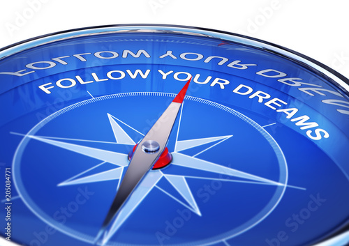 3D rendering of an compass with the words follow your dreams Canvas Print