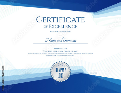 Obraz Luxury certificate template with elegant border frame, Diploma design for graduation or completion - fototapety do salonu