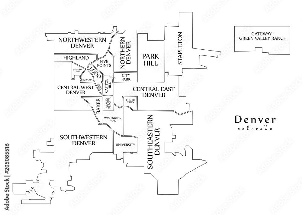 Modern City Map - Denver Colorado city of the USA with neighborhoods ...