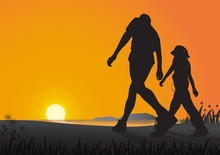 Silhouette Of Couple Walking On The Beach In The Morning On Golden Sunrise Background, Health Care Exercise Concept Vector Illustration